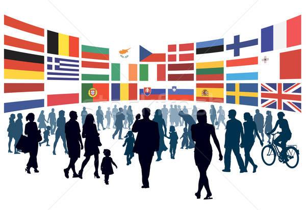 европейский люди ходьбе толпа флагами Сток-фото © Aiel