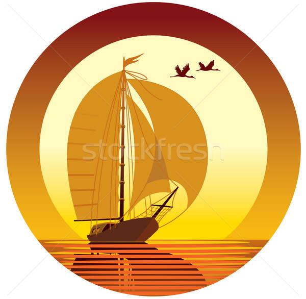 Voile vacances navire coucher du soleil battant oiseaux Photo stock © Aiel