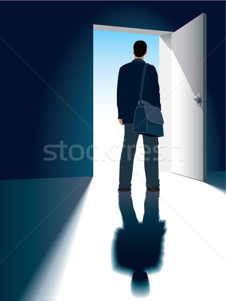 Stock fotó: Nyitott · ajtó · üzletember · áll · üzlet · ház · otthon