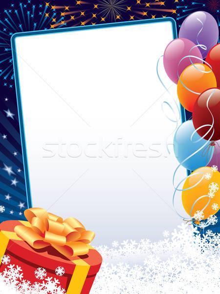 Karnawałowe zimą dekoracji kopia przestrzeń balony obecnej Zdjęcia stock © Aiel