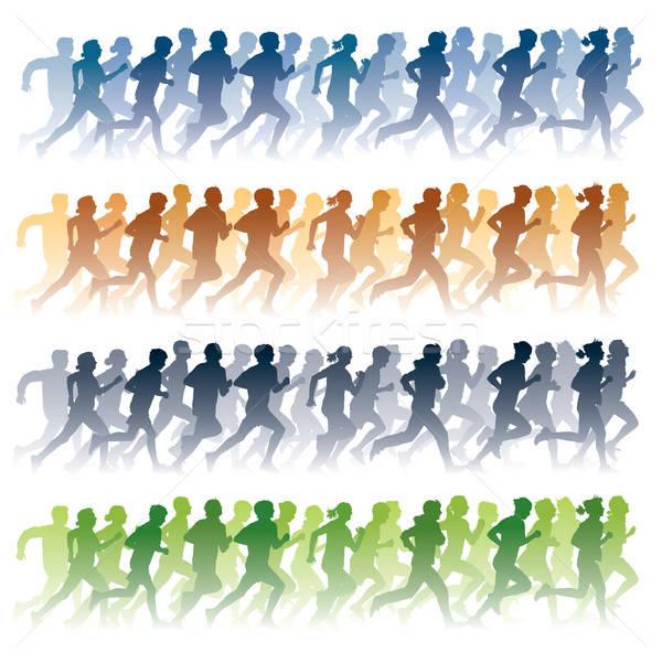 Сток-фото: работает · люди · толпа · молодые · люди · спорт · девушки
