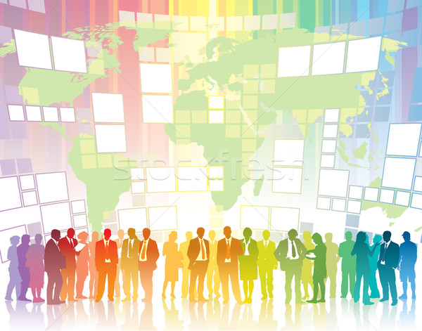 グローバル通信 人 立って 女性 男 ストックフォト © Aiel
