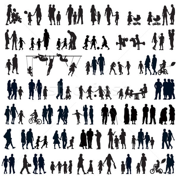 Personnes silhouettes familles couples Photo stock © Aiel