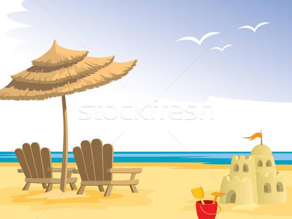 Foto stock: Verão · praia · cadeiras · de · praia · guarda-chuva · brinquedos