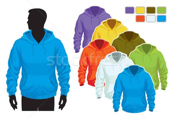 Sweatshirt Vorlage Mann Körper Silhouette farbenreich Stock foto © Aiel