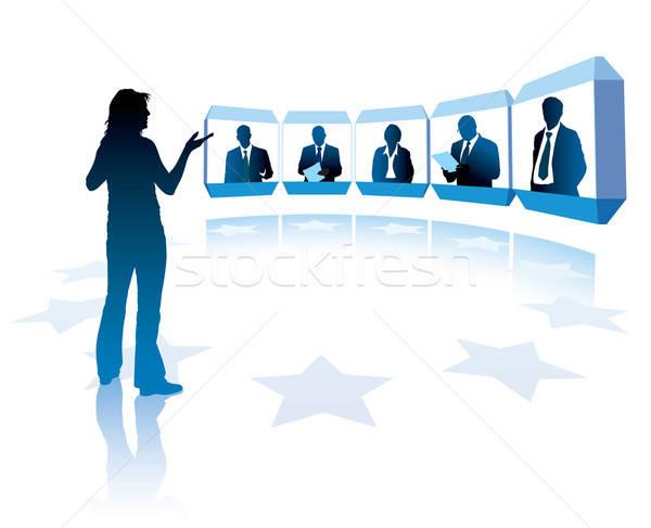 Сток-фото: группа · успешный · человека · телевидение · заседание