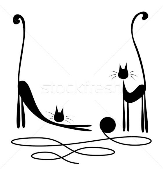 Stock photo: Two black cats