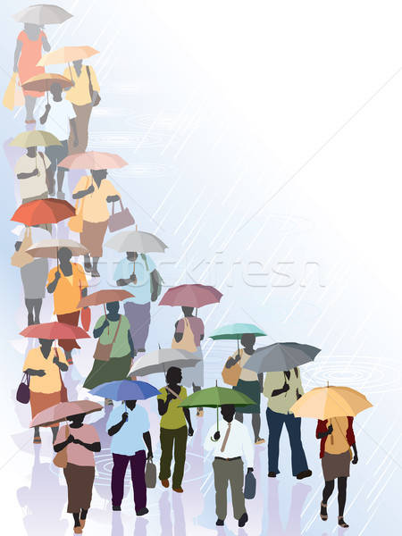 Menigte regen water straat achtergrond kunst Stockfoto © Aiel