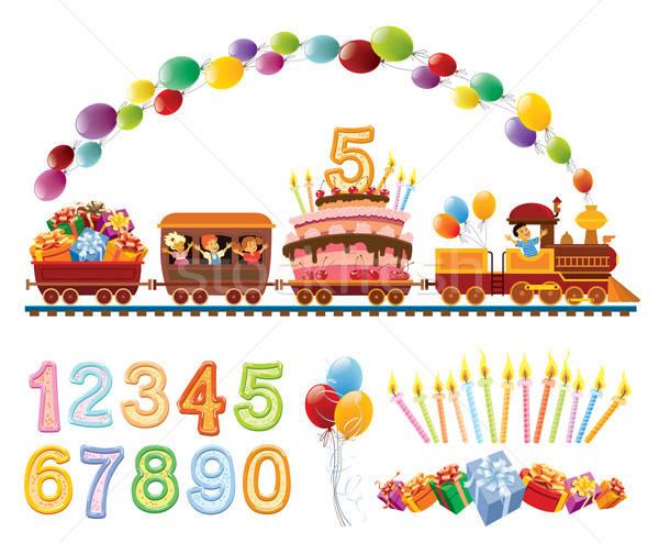 Aniversário trem feliz crianças brinquedo balões Foto stock © Aiel