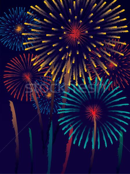 Stockfoto: Vuurwerk · carnaval · hemel · decoratie · klaar · posters