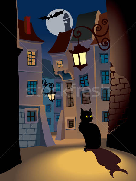 Halloween demoníaco gato calle perfecto ilustración Foto stock © Aiel