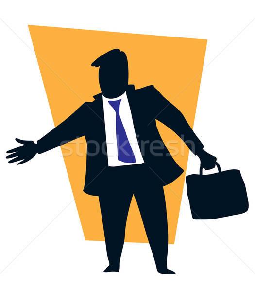 Foto d'archivio: Business · stretta · di · mano · imprenditore · set · affrontare · blu