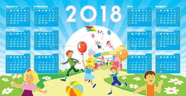Children with Calendar 2018 Stock photo © Aiel