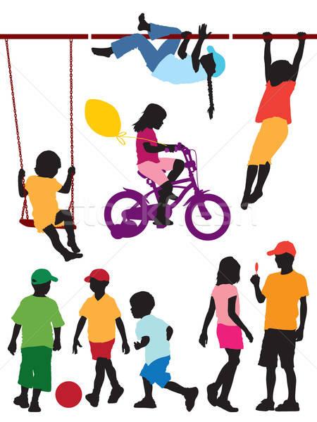Stok fotoğraf: çocuklar · ayarlamak · siluetleri · kız · çift · sanat