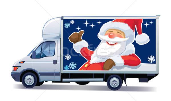 Noel teslim kamyon ticari araç noel baba duyurmak Stok fotoğraf © Aiel