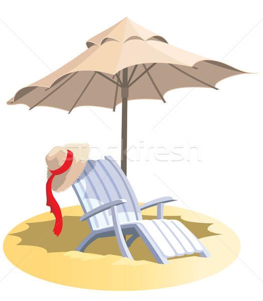 Stoel paraplu zomervakantie tropisch strand ontwerp Blauw Stockfoto © Aiel