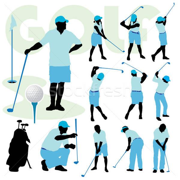 Foto d'archivio: Golf · persone · set · silhouette · campo · da · golf · erba