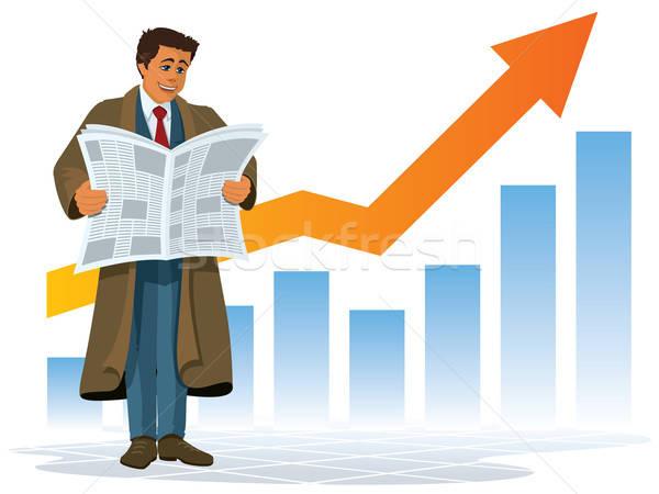 Una buena noticia empresario lectura periódico feliz noticias Foto stock © Aiel