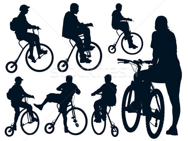 Stok fotoğraf: Bisiklete · binme · insanlar · toplama · spor · arka · plan