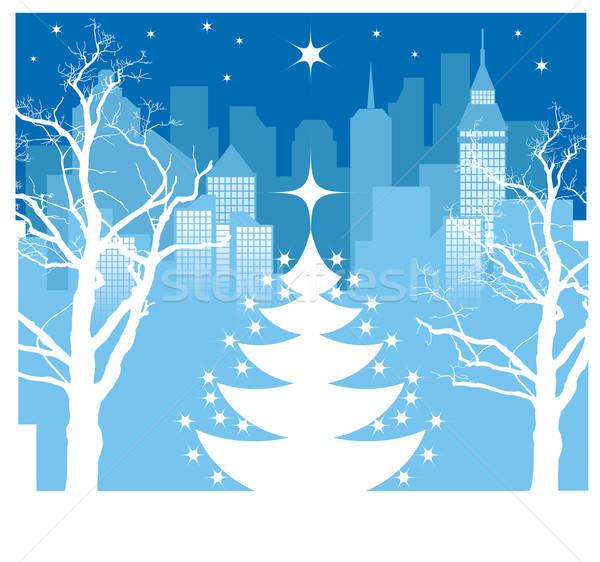 Foto stock: Navidad · ciudad · árbol · de · navidad · silueta · invierno · cielo