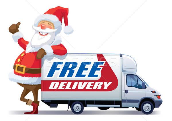 Рождества бесплатная доставка Дед Мороз реклама бизнеса счастливым Сток-фото © Aiel
