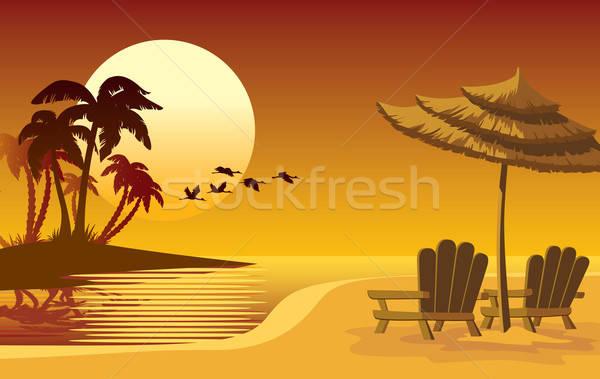Stock photo: Sunset island