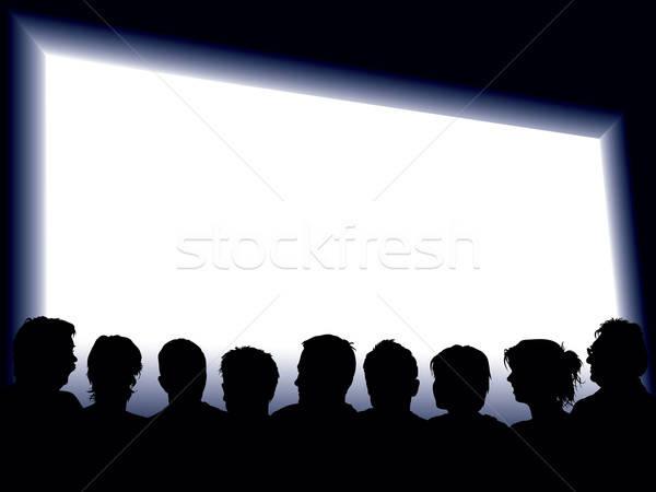 Foto stock: Grande · pantalla · personas · mirando · mujer · nina