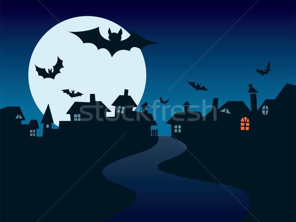 Stock foto: Halloween · Stadt · perfekt · Illustration · Urlaub · Haus