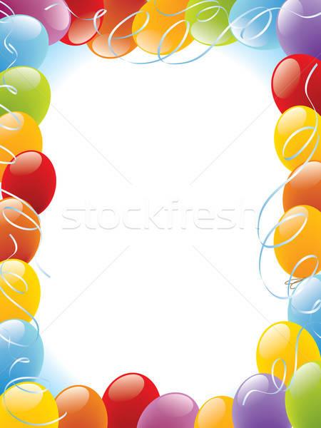 Stockfoto: Ballonnen · frame · decoratie · klaar · posters · kaarten