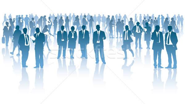 ストックフォト: 群衆 · 立って · 白 · 女性 · 男