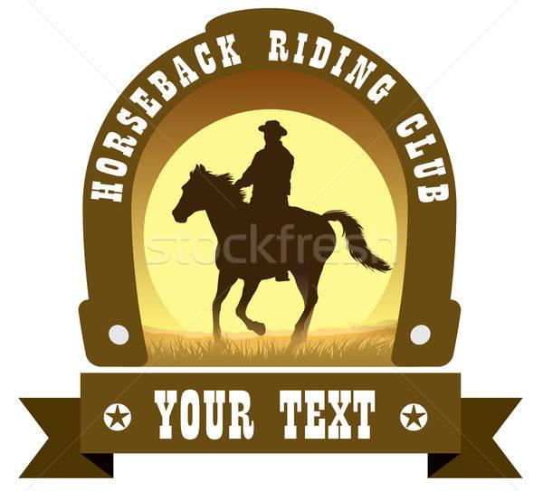 знак верховая езда клуба Cowboy лошади силуэта Сток-фото © Aiel