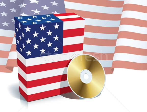 Stock fotó: Amerikai · szoftver · doboz · cd · zászló · üzlet