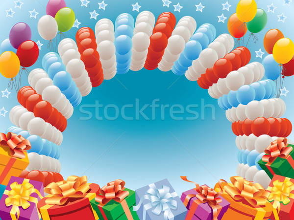 Stock photo: Balloons and presents