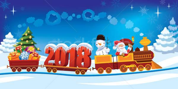 Christmas pociągu nowy rok Święty mikołaj zabawki prezenty Zdjęcia stock © Aiel