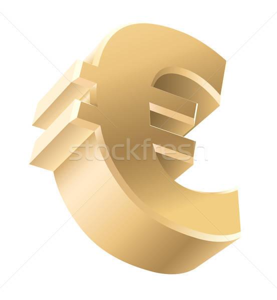 Golden Euro Zeichen glänzend Währung isoliert Stock foto © Aiel