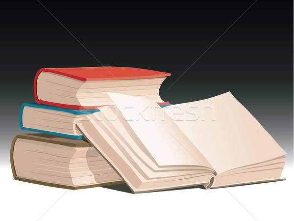 Сток-фото: книгах · один · открытой · книгой · школы · работу