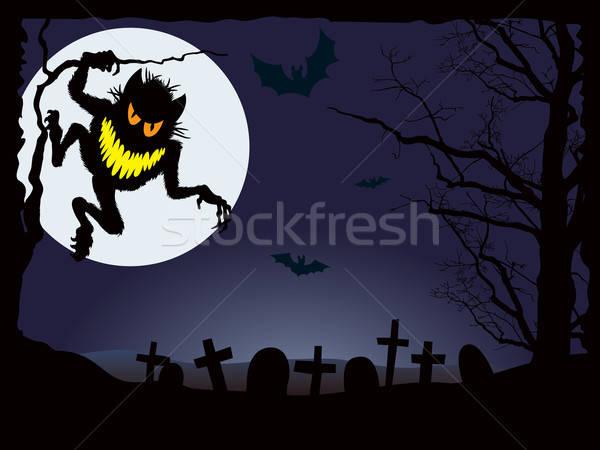 Halloween pesadelo demoníaco noite férias olhos Foto stock © Aiel