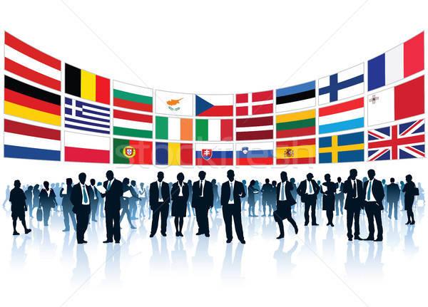 европейский толпа Постоянный флагами Сток-фото © Aiel