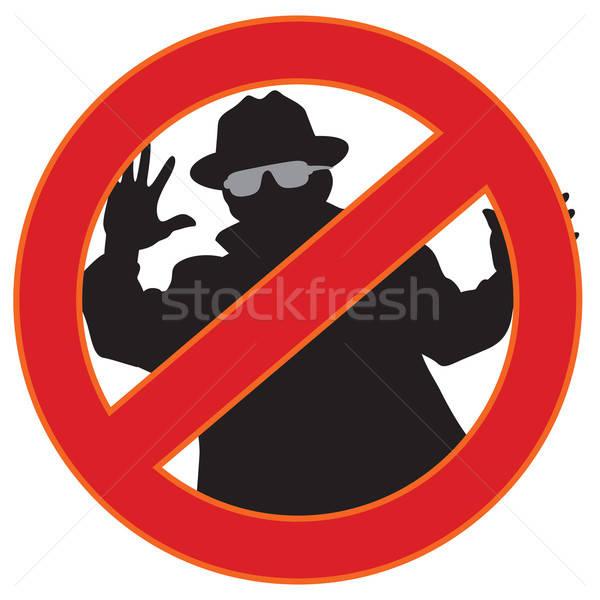Nem spyware szimbólum biztonság piros fehér Stock fotó © Aiel