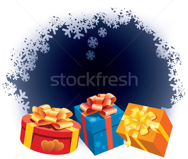 Foto stock: Cajas · de · regalo · blanco · invierno · papel · boda