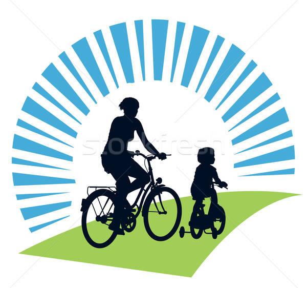 Stok fotoğraf: Yaz · yolculuk · anne · çocuk · bisiklete · binme · mutlu