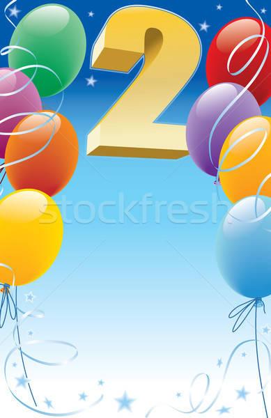 Második születésnap terv elemek poszter meghívó Stock fotó © Aiel