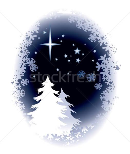 Foto stock: árbol · de · navidad · silueta · invierno · noche · resumen · diseno