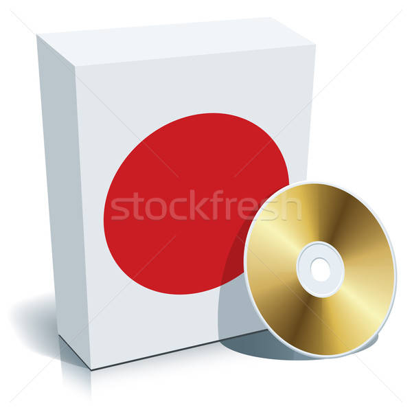 Stock fotó: Japán · szoftver · doboz · cd · zászló · színek