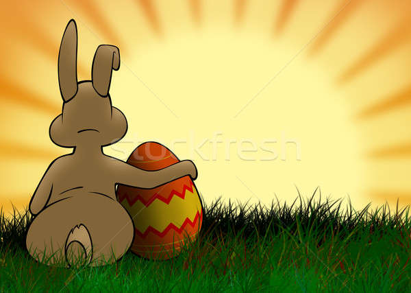 Húsvéti nyuszi színes tojás néz nap húsvét gyerekek Stock fotó © Aiel