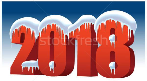 új év hó jég kék boldog fény Stock fotó © Aiel