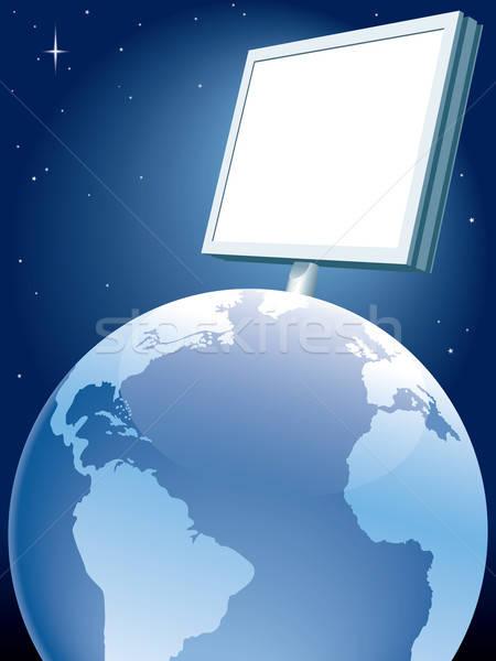 Foto stock: Global · publicidade · grande · quadro · de · avisos · em · pé · terra