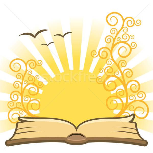 Stock fotó: Könyv · nyitva · mágikus · nap · papír · fa
