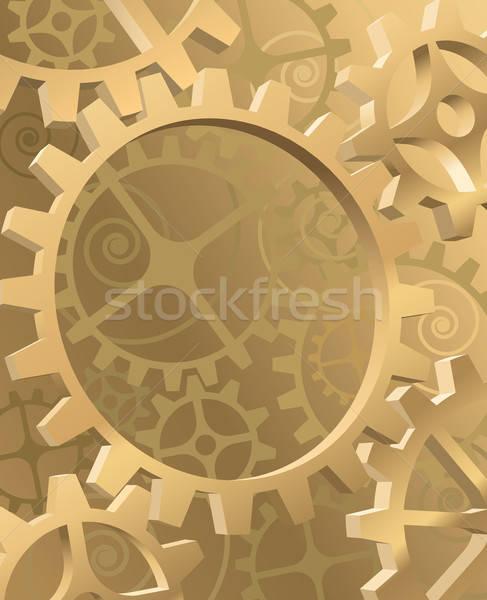 Engrenagem velho maquinaria ouro engrenagens engrenagens Foto stock © Aiel