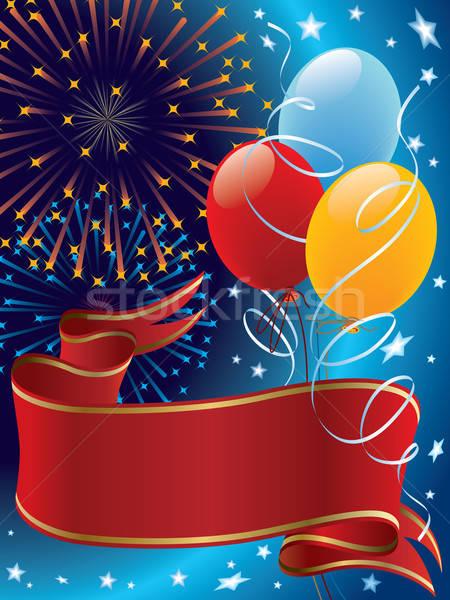 Stok fotoğraf: Kutlama · tatil · dekorasyon · havai · fişek · balonlar · afiş